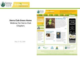 Sierra Club Green Home Webinar for Sierra Club Chapters