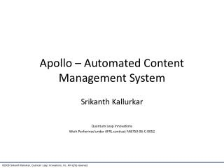 Apollo – Automated Content Management System
