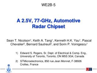 A 2.5V, 77-GHz, Automotive Radar Chipset