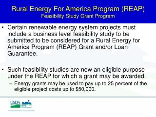 Rural Energy For America Program (REAP)  Feasibility Study Grant Program