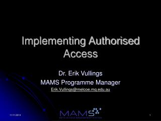 Implementing Authorised Access