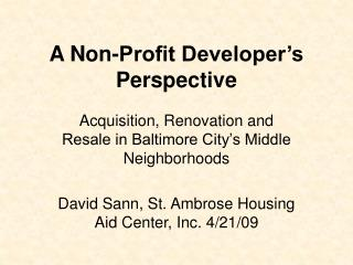 A Non-Profit Developer's Perspective