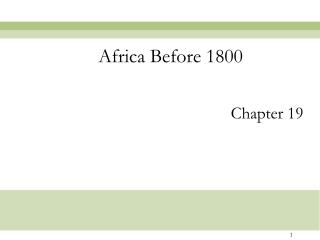 Africa Before 1800