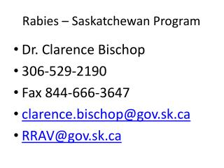 Rabies – Saskatchewan Program
