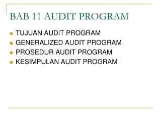 BAB 11 AUDIT PROGRAM