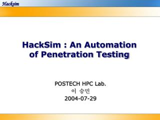 HackSim : An Automation of Penetration Testing