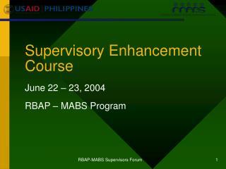 Supervisory Enhancement Course