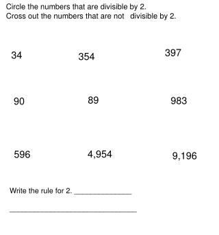 Circle the numbers that are divisible by 2. Cross out the numbers that are not 