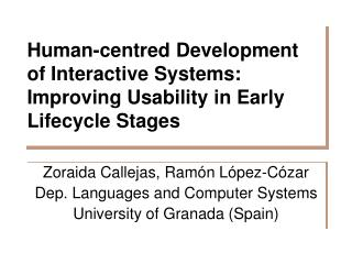 Human-centred Development of Interactive Systems: Improving Usability in Early Lifecycle Stages