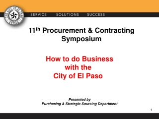How to do Business w ith the City of El Paso