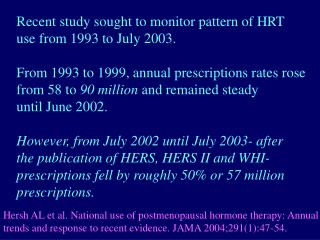 Recent study sought to monitor pattern of HRT use from 1993 to July 2003.