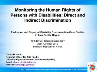 Monitoring the Human Rights of Persons with Disabilities: Direct and Indirect Discrimination