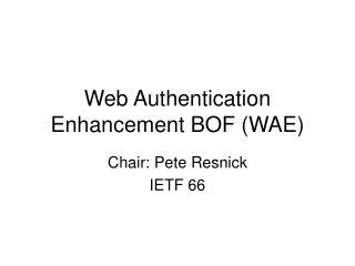 Web Authentication Enhancement BOF (WAE)