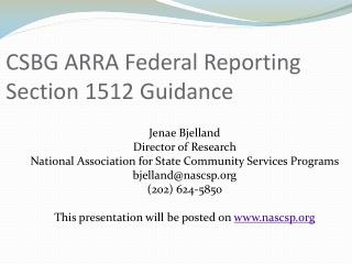 CSBG ARRA Federal Reporting Section 1512 Guidance