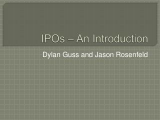 IPOs – An Introduction