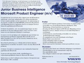Junior Business Intelligence Microsoft Product Engineer (m/v)