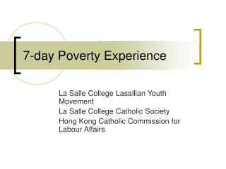 7-day Poverty Experience
