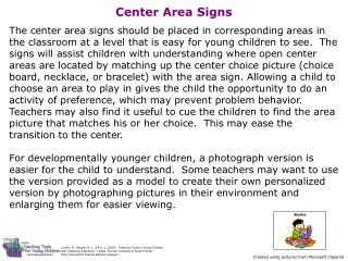 Center Area Signs