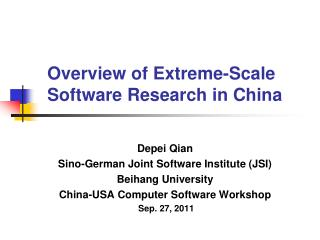 Overview of Extreme-Scale Software Research in China