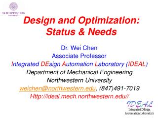 Design and Optimization: Status & Needs