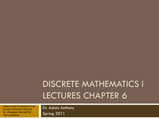 Discrete Mathematics I Lectures Chapter 6