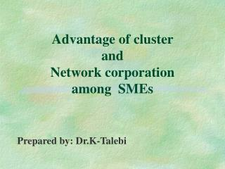 Advantage of cluster  and  Network corporation  among  SMEs