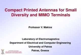 UNIVERSITY OF PATRAS ELECTRICAL & COMPUTER ENG. DEPT. LABORATORY OF ELECTROMAGNETICS