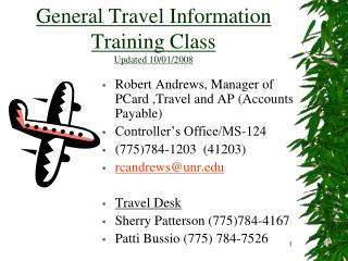 General Travel Information Training Class Updated 10/01/2008