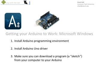 Getting your Arduino to Work: Microsoft Windows