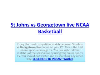 St Johns vs Georgetown live