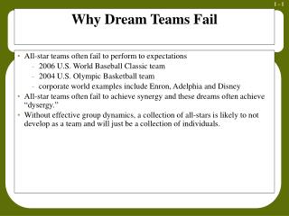 Why Dream Teams Fail