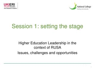Session 1: setting the stage