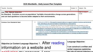 DCIS Montbello - Daily Lesson Plan Template