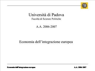 Economia dell integrazione europea
