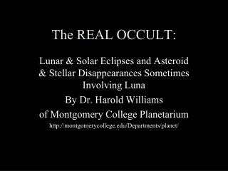 The REAL OCCULT: