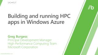 Building and running HPC apps in Windows Azure