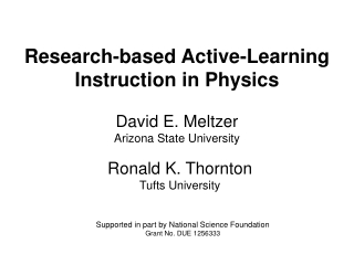 Research-based Active-Learning Instruction in Physics