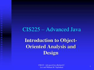 CIS225 – Advanced Java