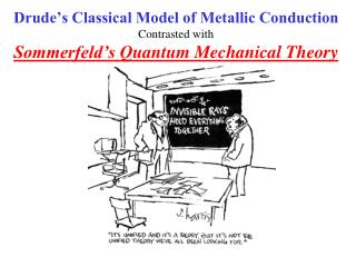 Drude's Classical Model of Metallic Conduction Contrasted with Sommerfeld's  Quantum Mechanical Theory