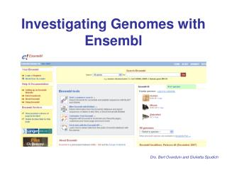 Investigating Genomes with Ensembl