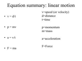 Equation summary: linear motion