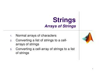 Strings Arrays of Strings