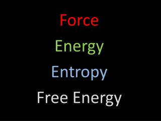 Force Energy Entropy Free Energy