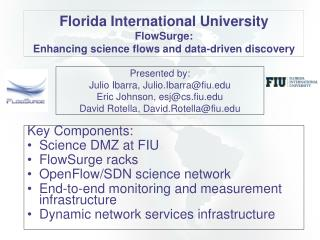Key Components: Science  DMZ at FIU FlowSurge  racks OpenFlow /SDN science  network