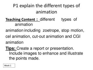 P1 explain the different types of animation