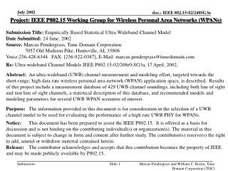 Project: IEEE P802.15 Working Group for Wireless Personal Area Networks (WPANs) Submission Title:  Empirically Based Sta