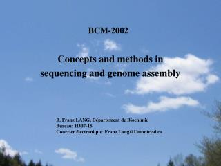 Concepts and methods in  sequencing and  genome assembly