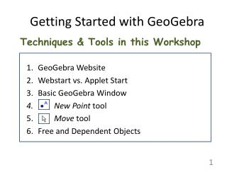 Techniques & Tools in this Workshop GeoGebra Website Webstart vs. Applet Start