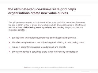 the eliminate-reduce-raise-create grid helps organisations create new value curves