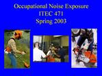 Occupational Noise Exposure ITEC 471 Spring 2003